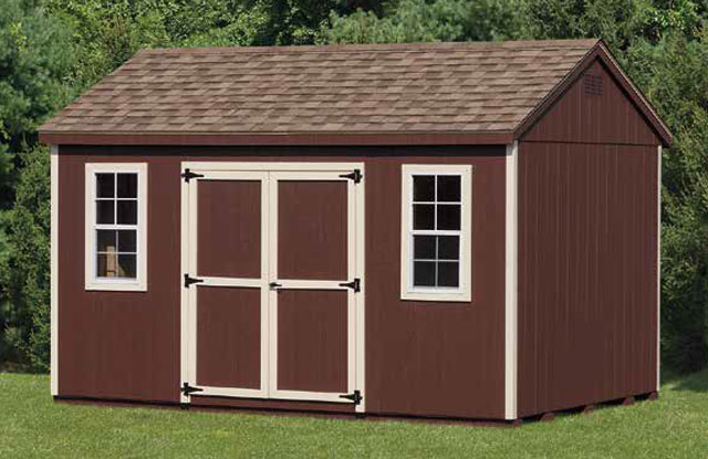 keystone a frame brown storage shed in a field