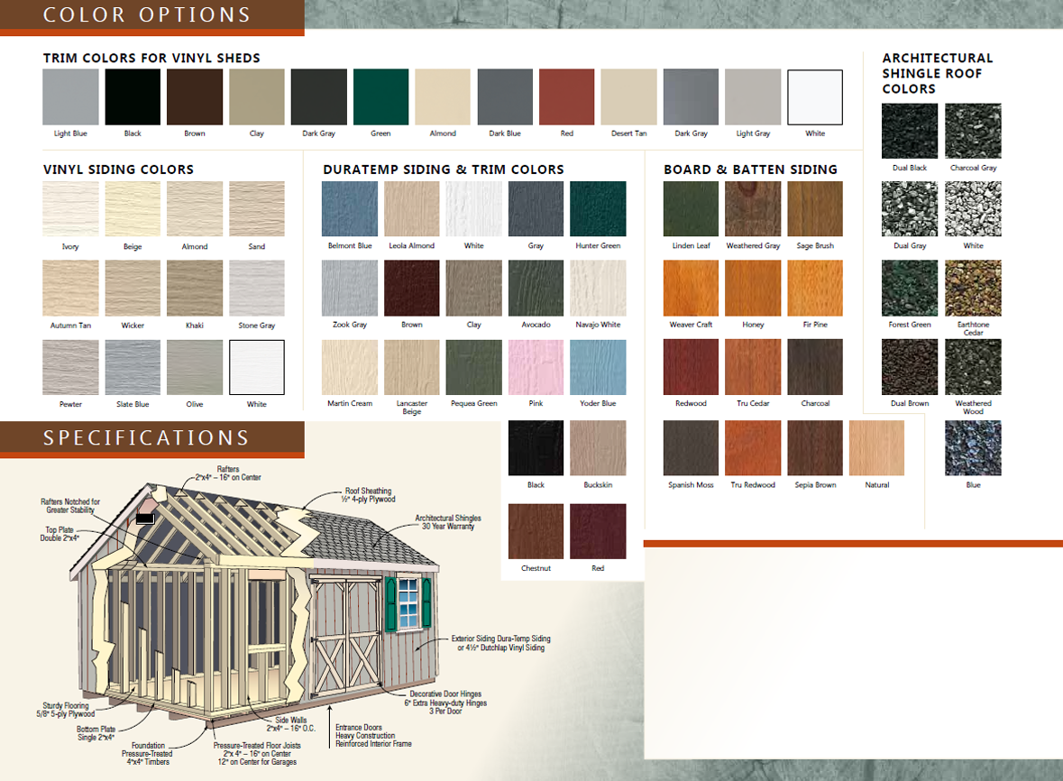 list of color options for custom quaker series shed