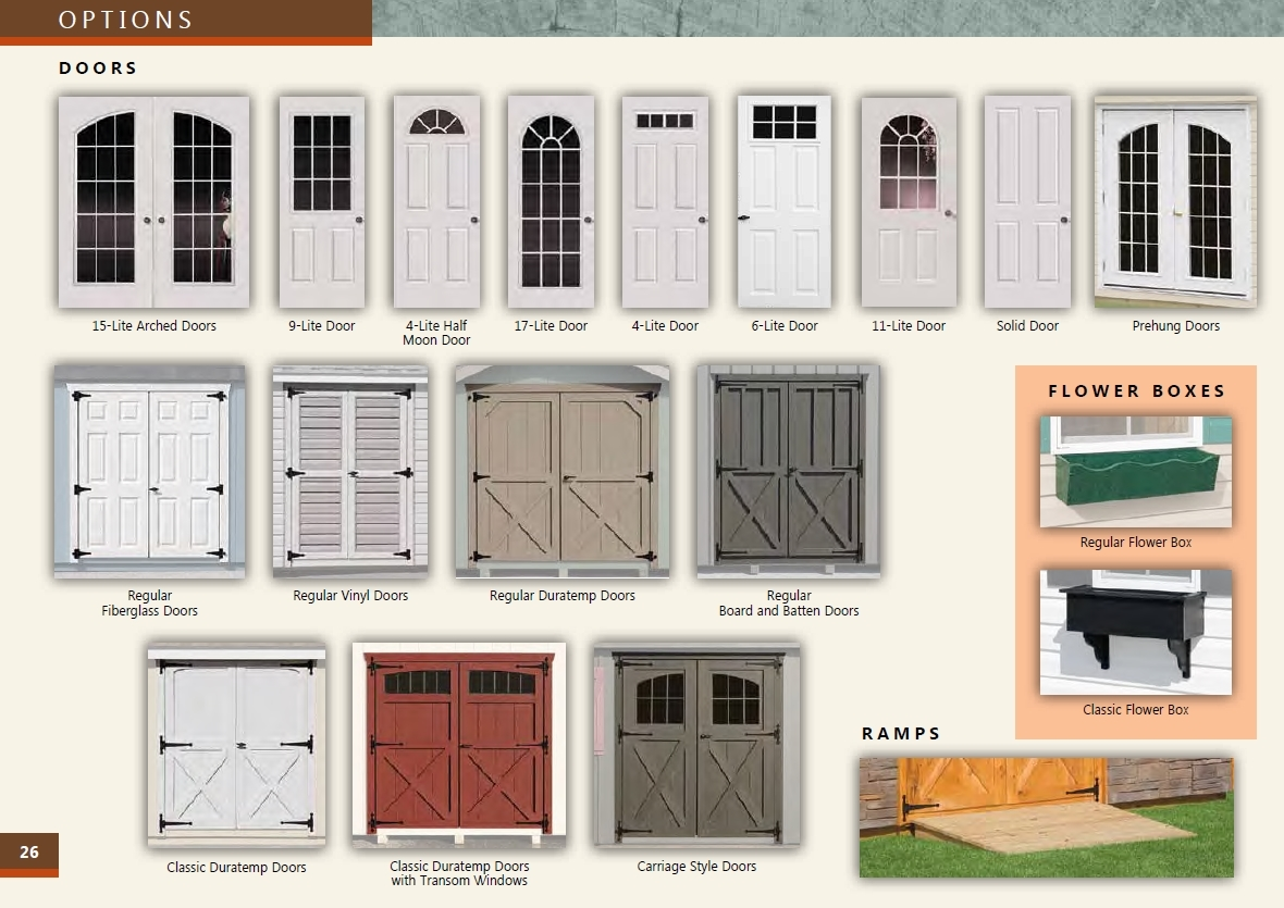 quaker series custom door options list