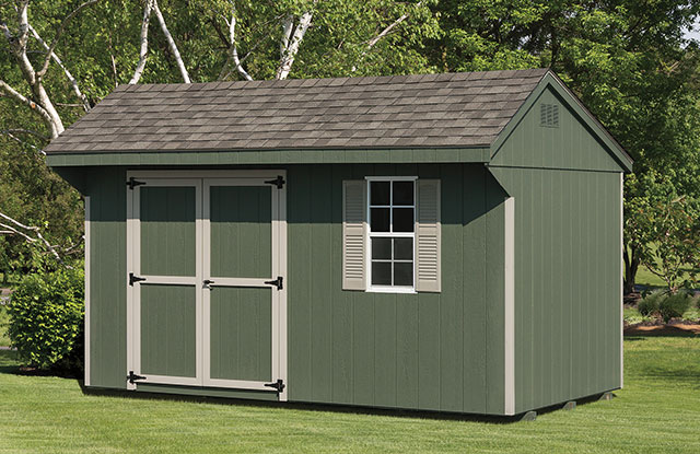 keystone series garden shed in front of tall trees