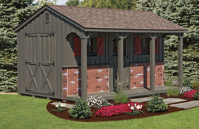 poolside shed with olive posts and decorative brick panels