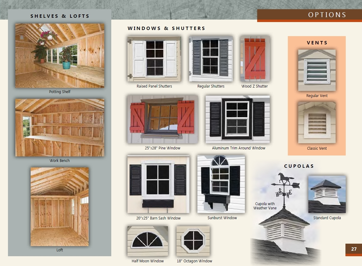 window options for custom quaker sheds