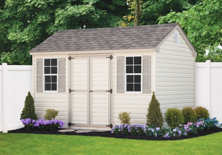 white workshop style storage shed