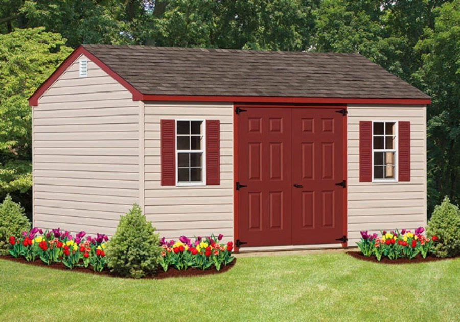 workshop storage shed featuring red double door and red roof trim