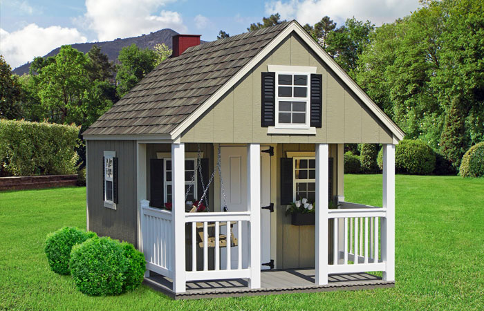 amish built custom a frame playhouse with porch nook