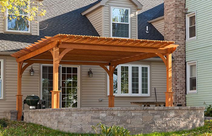amish built stained cedar backyard pergola