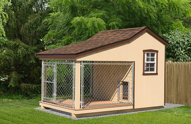 backyard dog kennel with gated in area