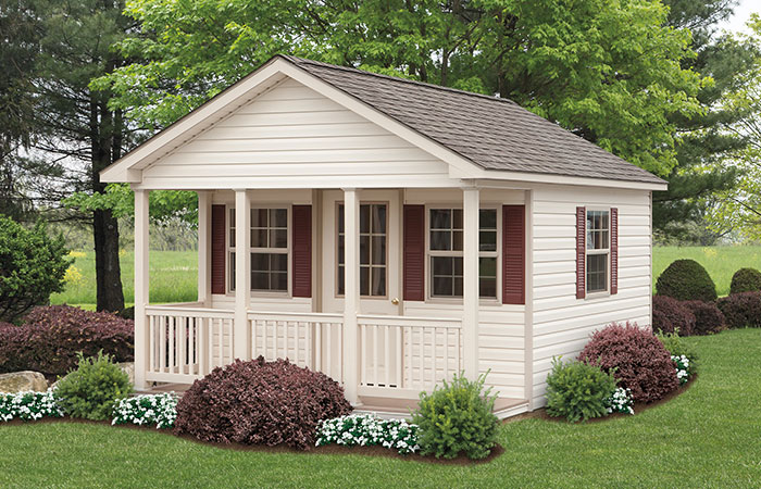backyard gable porch shed with posts