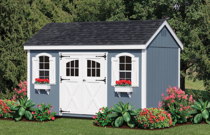blue a frame storage shed with window boxes