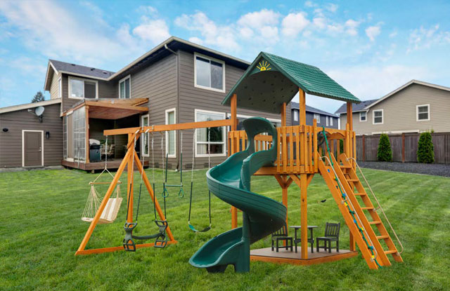 wood swing set with curvy slide and small sitting area underneath