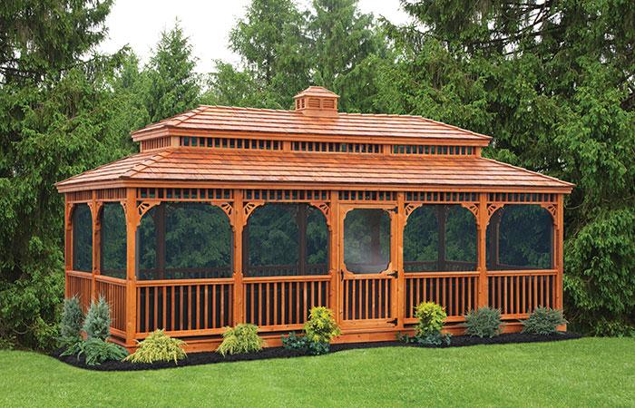 cedar wood victorian style enclosed rectangular gazebo
