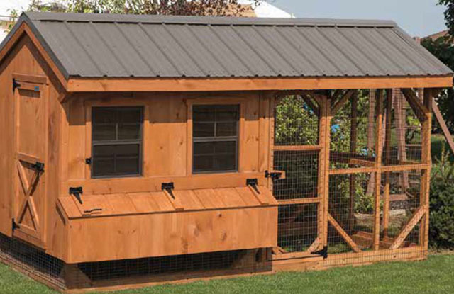 hand built wooden chicken coop
