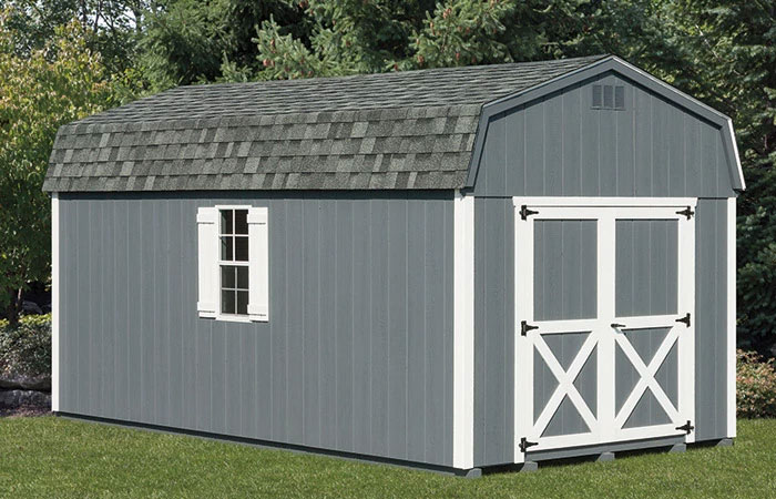 classic backyard storage shed with steel blue coloring