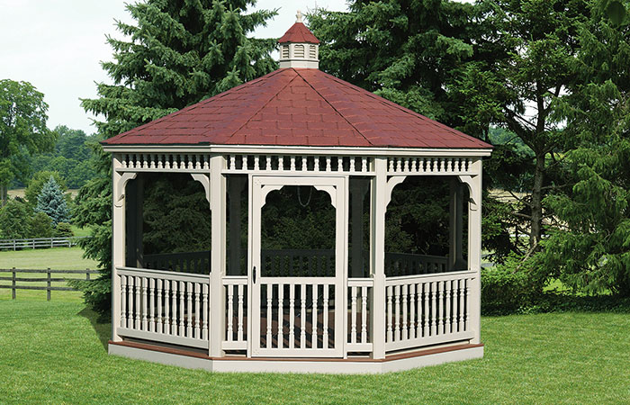 classic octagon shaoed enclosed gazebo with red roof in md