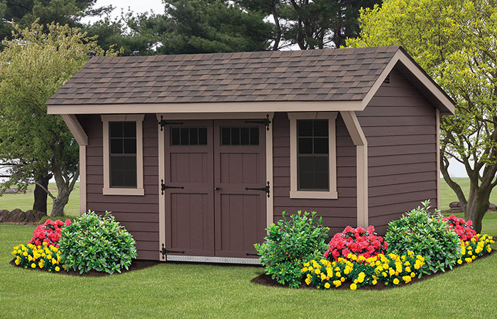 custom built new haven a frame shed with brown coloring and slight overhang