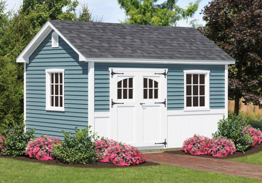 decorative light blue shed with white panel