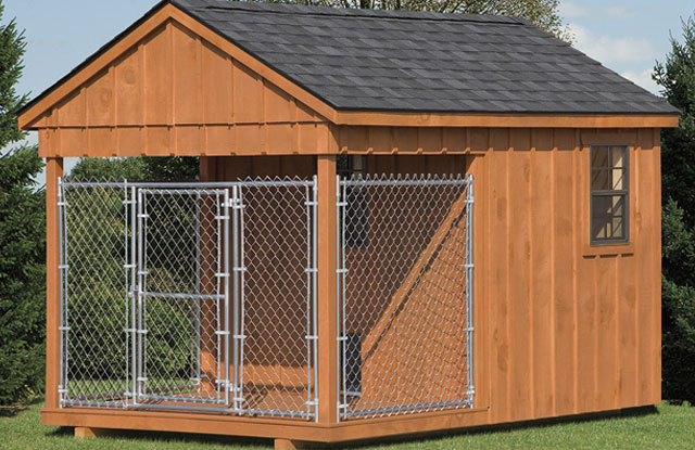 backyard dog kennel with indoor safe space