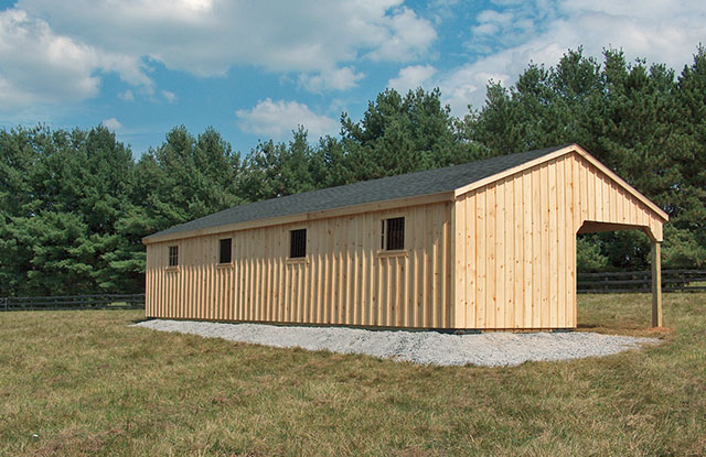 double wide horse barn with overhang
