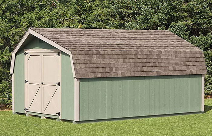 duratemp mini barn storage shed with green siding