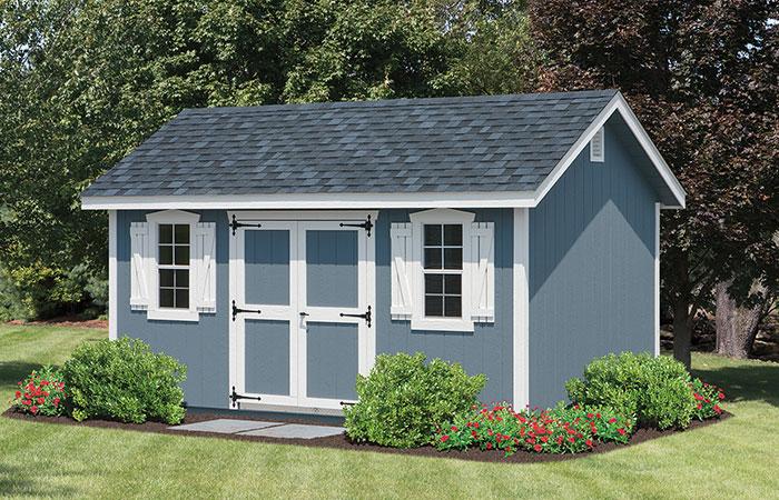 dusty blue lexington storage shed in a garden