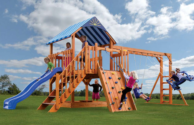 elite swing set with slide and large climbing wall