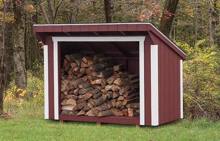 firewood storage in keystone storage shed