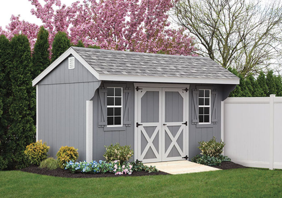 grey and white custom quaker series shed