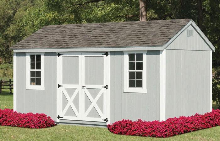 grey traditional backyard storage shed