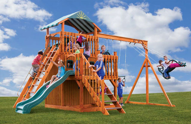 high quality covered wooden swing set for sale