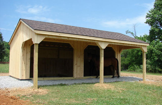 amish built horse barn in front of trees