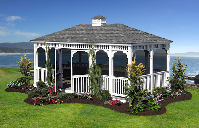 large rectangular screened in gazebo with double doors for sale