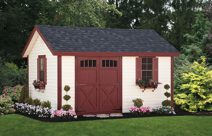 lexington shed with white siding and red trim
