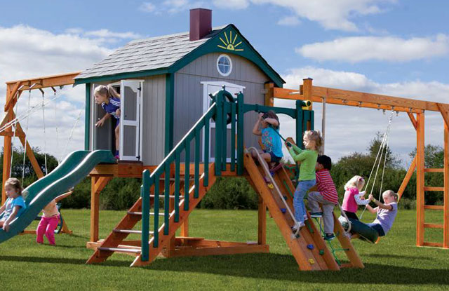 luxury space station wooden swing set with clubhouse