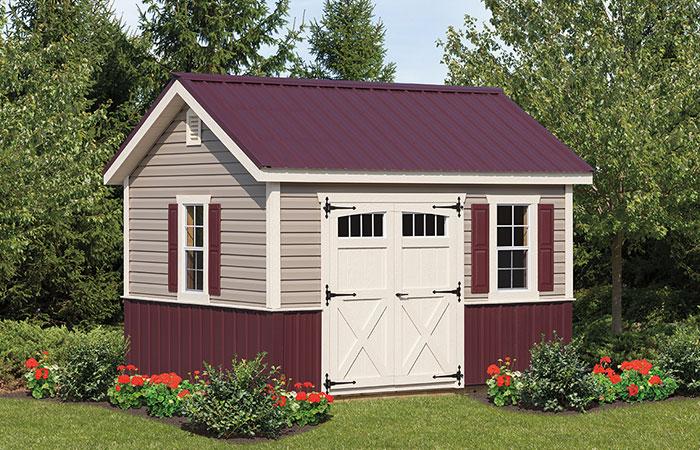 maroon lexington style storage shed