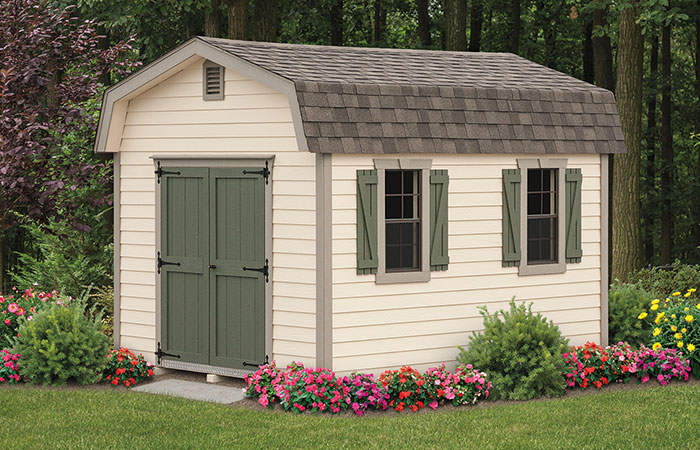 neautral colored new haven series shed with highwall structure