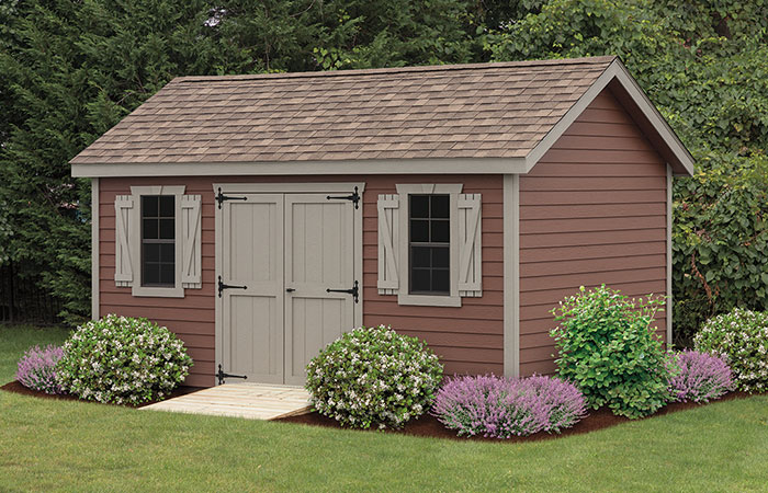 new haven series shed with an a frame structure and rustic coloring