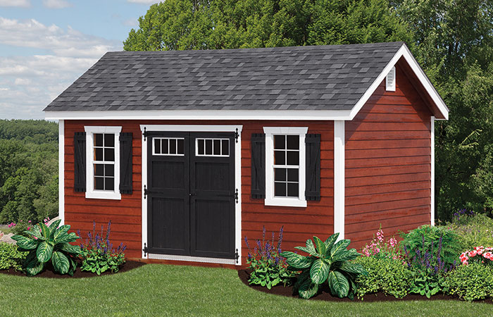 new havens style shed with a frame features and red vinyl siding
