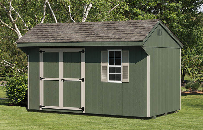 olive green keystone storage shed with overhand roof and one window