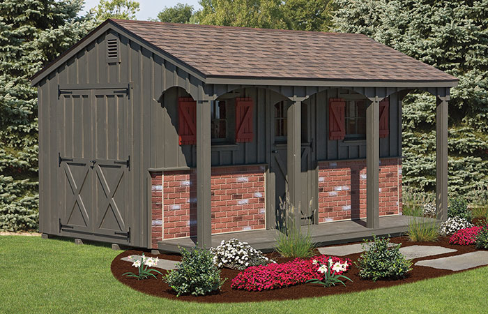 outdoor poolside shed with porch