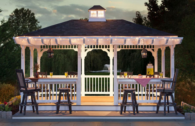 amish built pavilion in the evening