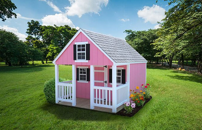 pink backyard doll house for kids