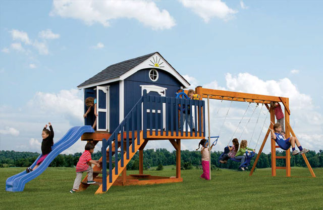 pirate themed wooden swing set with clubhouse in md