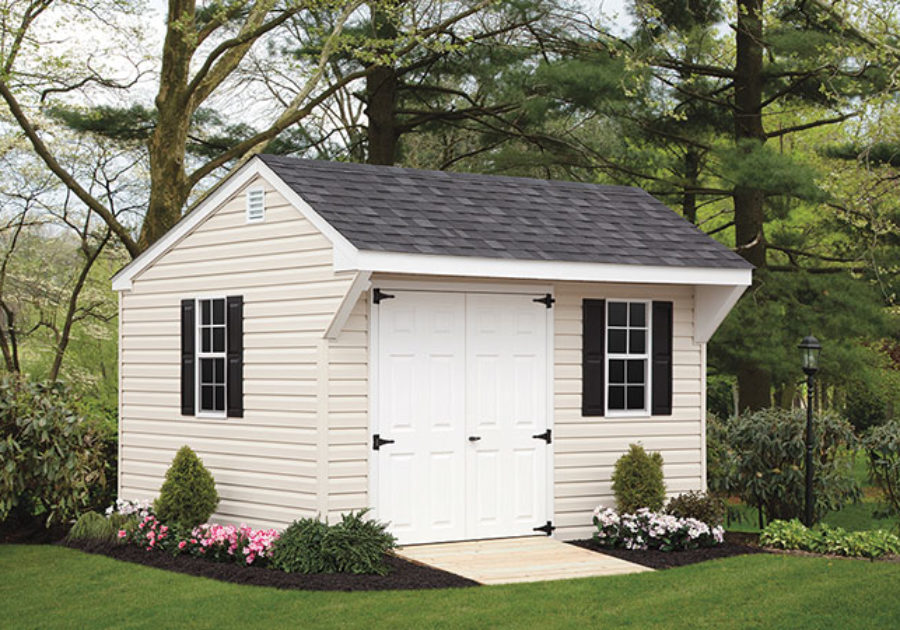white quaker series shed with overhang roof