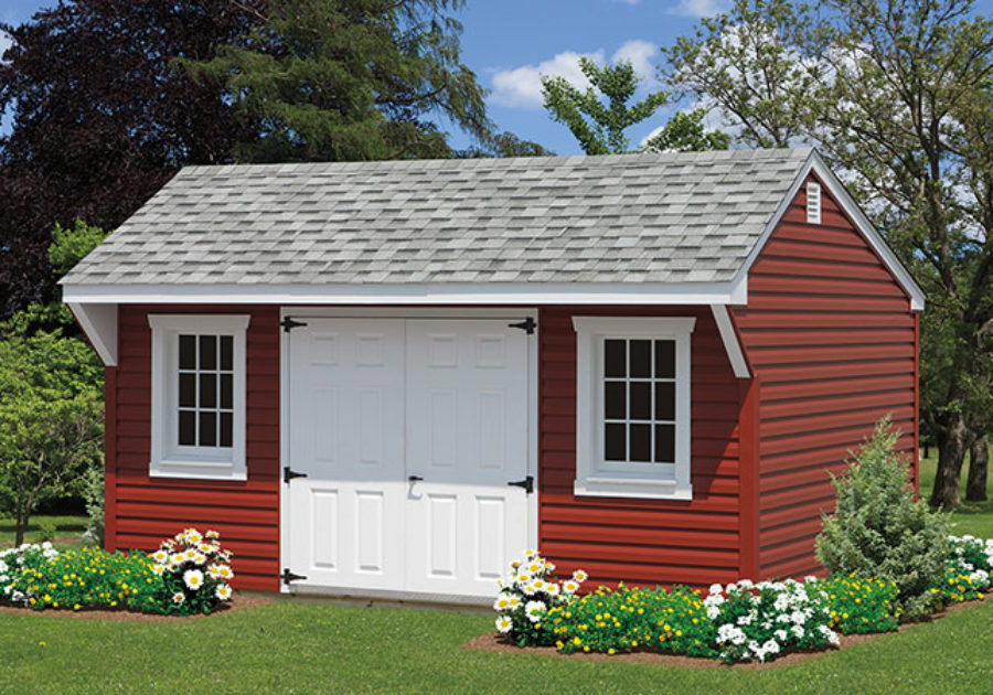 quaker series red vinyl shed with 2 windows
