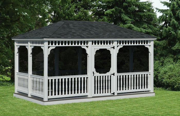 rectangular backyard screened in gazebo