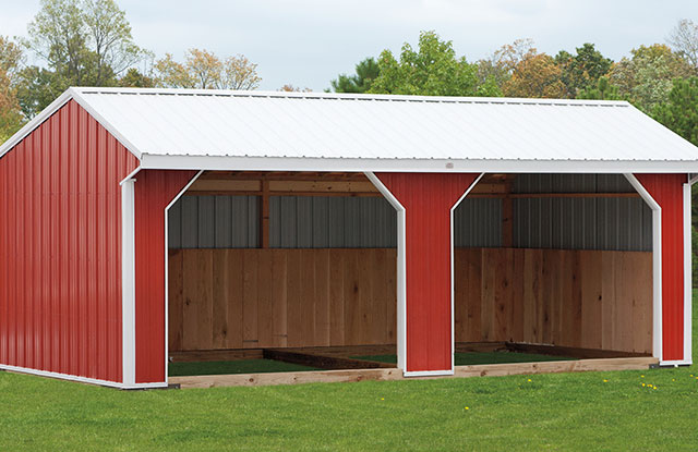 red run in horse barn crafted by amish builders