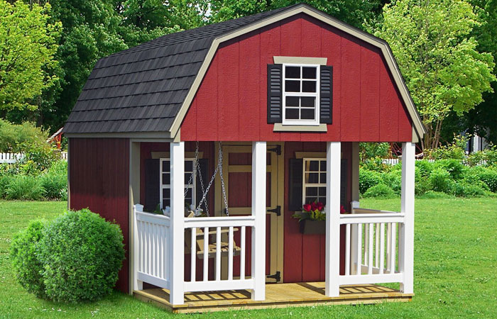 red vinyl dutch style backyard playhouse for sale
