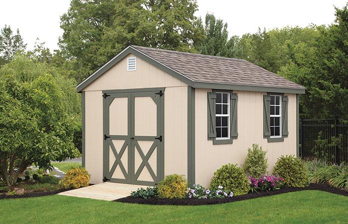 regular workshop style shed with green details
