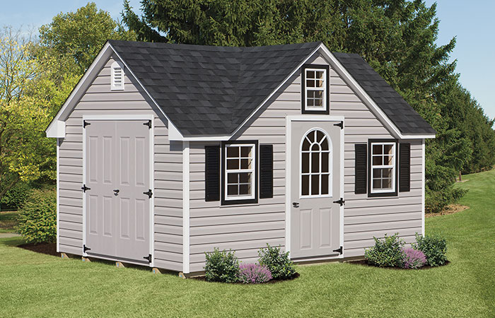 reverse gable shed made with vinyl siding