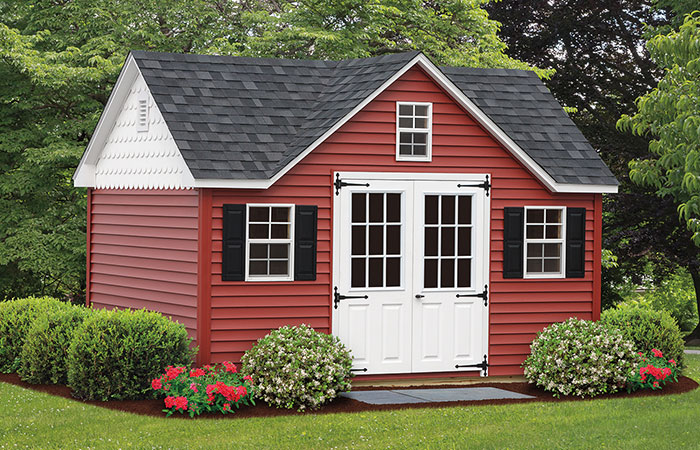 reverse gable storage shed with 3 windows